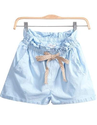 Blue Elastic Waist Pockets Shorts