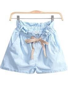 Blue Elastic Waist Pockets Shorts