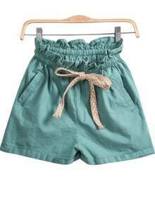 Green Elastic Waist Pockets Shorts
