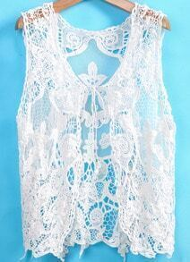 White Sleeveless Floral Crochet Lace Outerwear