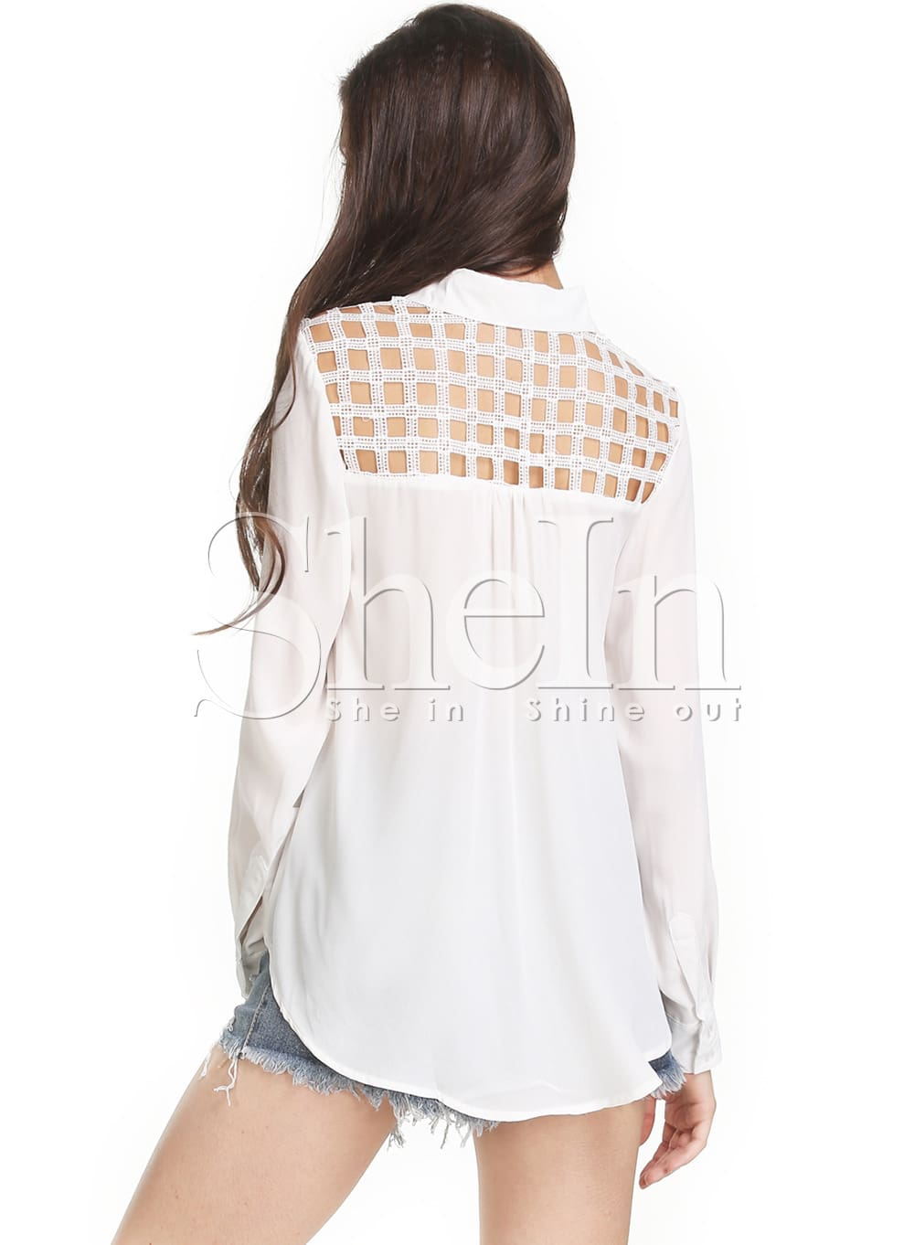 Beige long sleeve open back shirt shein sheinside for Long sleeve open shirt