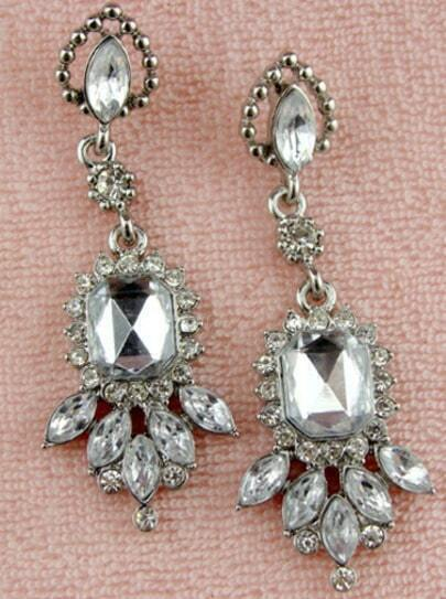 Fashion Silver Diamond Earrings