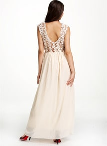 Apricot Sleeveless Floral Crochet Lace Ball Maxi Dress