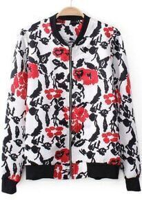 White Short Sleeve Zipper Vintage Floral Jacket