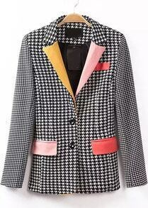 Black Contrast Collar Houndstooth Pockets Blazer