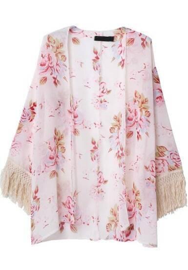 Pink Long Sleeve Floral Tassel Kimono