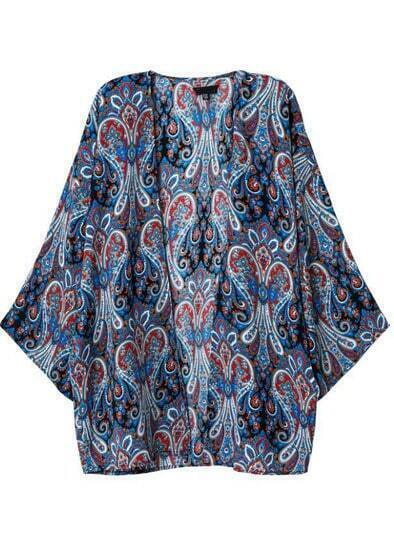 Blue Vintage Tribal Print Loose Kimono
