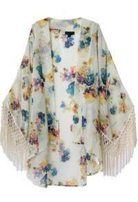 Apricot Long Sleeve Floral Tassel Loose Kimono