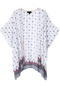 White Short Sleeve Vintage Floral Kimono