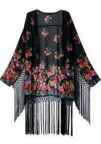 Black Long Sleeve Floral Tassel Loose Kimono