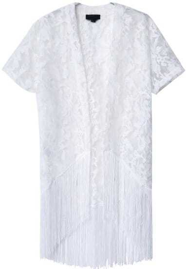White Short Sleeve Embroidered Lace Tassel Outerwear
