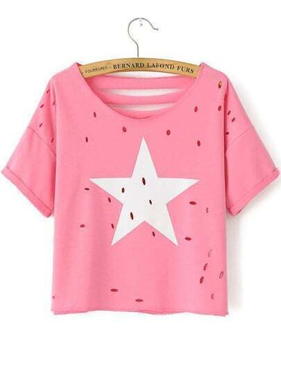 Pink Short Sleeve Star Print Hollow T-Shirt