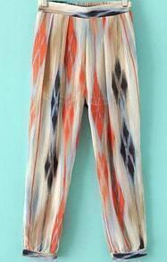 Orange Elastic Waist Casual Print Chiffon Pant