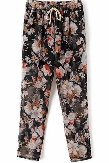 Black Drawstring Waist Floral Chiffon Pant