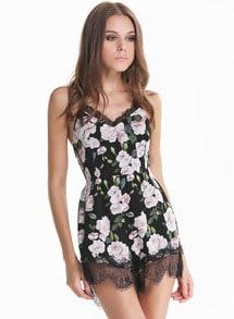 Black Criss Cross Floral Lace Slim Jumpsuit