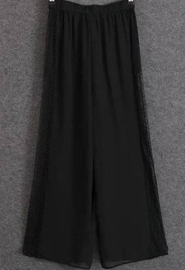 Black Contrast Lace Loose Pant