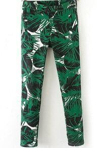 Green Mid Waist Leaves Print Pant