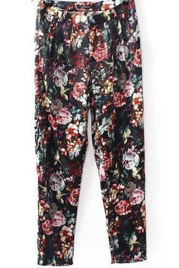 Black Pockets Vintage Floral Pant