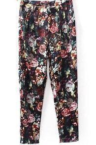 Black Pockets Vintage Floral Pant