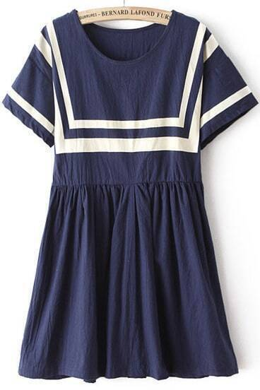 Navy Round Neck Short Sleeve Pleated Dress