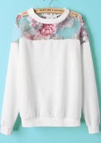 White Contrast Organza Floral Loose Sweatshirt