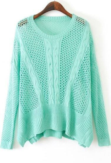 Green Long Sleeve Hollow Knit Sweater
