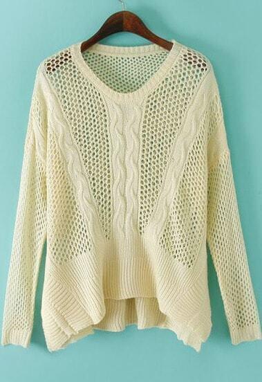 Beige Long Sleeve Hollow Knit Sweater