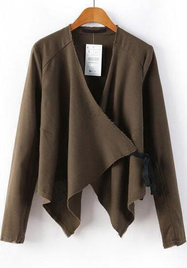 Brown Long Sleeve Asymmetrical Crop Outerwear