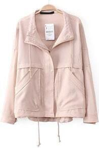 Nude Lapel Long Sleeve Loose Pockets Outerwear