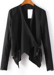 Black Long Sleeve Asymmetrical Crop Outerwear