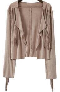 Khaki Long Sleeve Asymmetrical Crop Outerwear