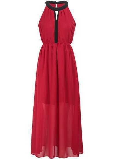 Red Sleeveless Split Pleated Chiffon Maxi Dress