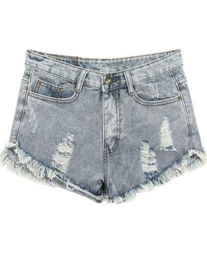 Blue Vintage Ripped Fringe Denim Shorts