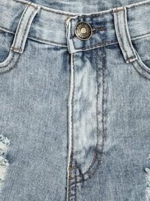 blue vintage ripped fringe denim shorts sheinsheinside
