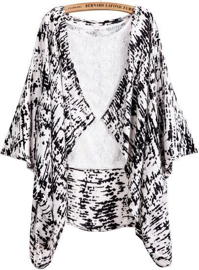 Black Floral Outerwear With White Lace Vest