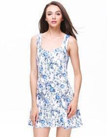 Blue Sweetheart Neckline Flowers Print Dress