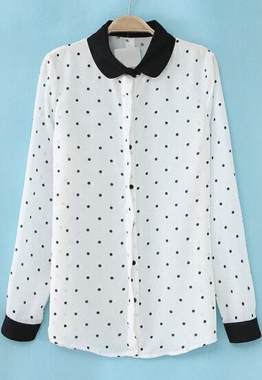 White Contrast Lapel Long Sleeve Polka Dots Blouse