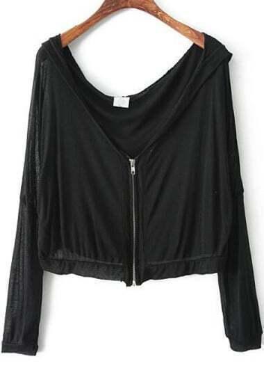 Black Hooded Long Sleeve Zipper Crop Outerwear