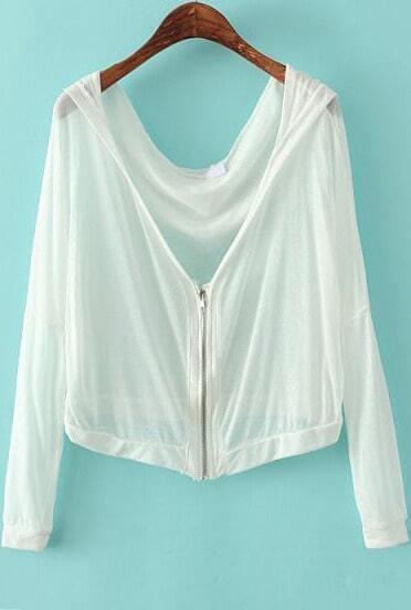White Hooded Long Sleeve Zipper Crop Outerwear