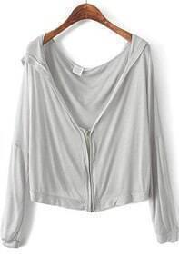 Grey Hooded Long Sleeve Zipper Crop Outerwear