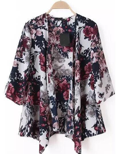 Kimono motif fleuri décontracté demi-manche -multicolore
