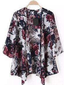 White Half Sleeve Floral Loose Kimono
