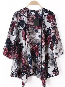 Multicolour Half Sleeve Floral Loose Kimono