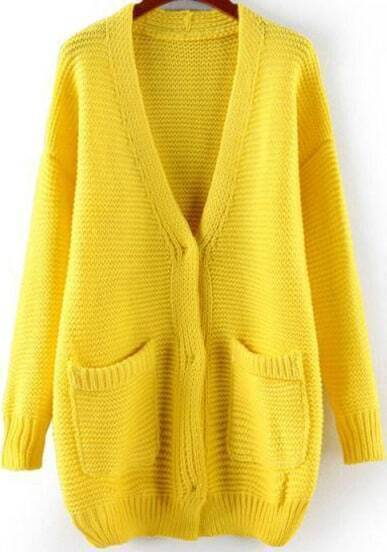Yellow Long Sleeve Pockets Loose Cardigan