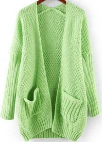 Green Long Sleeve Pockets Loose Knit Cardigan
