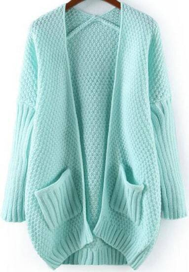 Blue Long Sleeve Pockets Loose Knit Cardigan