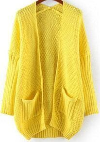 Yellow Long Sleeve Pockets Loose Knit Cardigan
