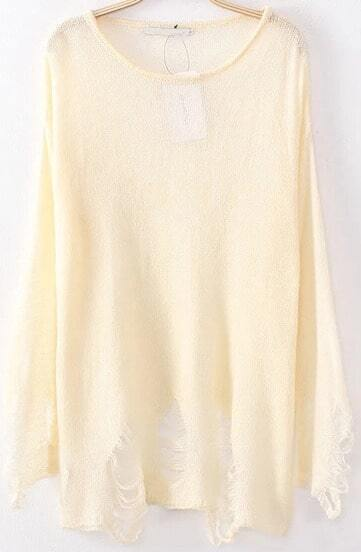 Apricot Long Sleeve Ripped Sheer Knit Sweater