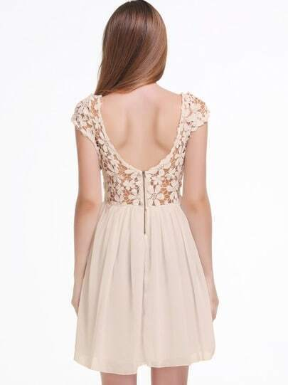 Apricot Short Sleeve Hollow Floral Crochet Pleated Dress