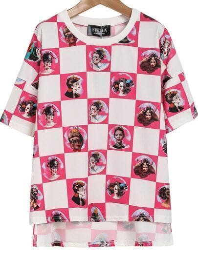 Pink Short Sleeve Plaid Women Print T-Shirt